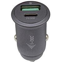 i-tec Car Charger 1x USB-C PD 30 W, 1x USB QC 3.0, Auto, Cigar lighter, 20 V, Grey