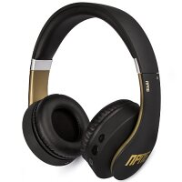 Veho Wired/Wireless Over-the-head Headset - Matte Black, Gold Trim - 1000 cm - Bluetooth