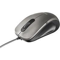 Trust 20404, Ambidextrous, Optical, USB Type-A, 1000 DPI, Black, Silver