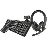 Trust Qoby, Standard, RF Wireless, QWERTY, Black, Mouse included