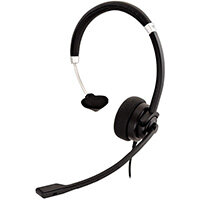 V7 Deluxe Mono Headset, boom mic, Adjustable Headband for PC, Mac, Laptop Computer, Chromebook, Black, 3.5mm connector, Headset, Head-band, Office/Call center, Black, Silver, Monaural, In-line control unit