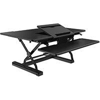 """V7 Sit Stand 36IN Desk Workstation, Black, 25.4 cm (10""""), 81.3 cm (32""""), 130 - 430 mm, Wood, 15 kg"""