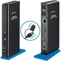 i-tec USB 3.0/USB-C Dual HDMI Docking Station, Wired, USB 3.2 Gen 1 (3.1 Gen 1) Type-A, 3.5 mm, 10,100,1000 Mbit/s, Black, UK