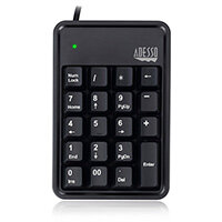Adesso AKB-600HB - 19-Key Mechanical Keypad with 3-Port USB Hub, USB, Universal, Membrane, Kailh Blue, 50 million characters, China