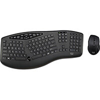Adesso TruForm Media 1600 - Wireless Ergonomic Keyboard and Optical Mouse, Wireless, RF Wireless, Membrane, QWERTY, Black, Mouse included
