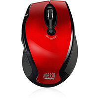 Adesso iMouse M20R - Wireless Ergonomic Optical Mouse, Right-hand, Optical, RF Wireless, 1600 DPI, Black, Red