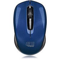 Adesso iMouse S50L - 2.4GHz Wireless Mini Mouse, Ambidextrous, Optical, RF Wireless, 1200 DPI, Black, Blue