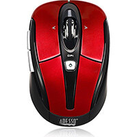 Adesso iMouse S60R - 2.4 GHz Wireless Programmable Nano Mouse, Right-hand, Optical, RF Wireless, 1600 DPI, Black, Red