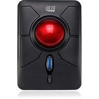 Adesso iMouse T50 - Wireless Programmable Ergonomic Trackball Mouse, Ambidextrous, Trackball, RF Wireless, 4800 DPI, Black, Red
