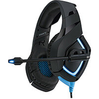 Adesso Stereo Gaming Headphone/Headset with Microphone, Headset, Head-band, Gaming, Black, Blue, Binaural, Rotary