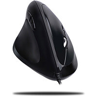 Adesso iMouse E7 - Left-Handed Vertical Ergonomic Programmable Gaming Mouse with adjustable weight, Left-hand, Vertical design, Optical, USB Type-A, 6400 DPI, Black