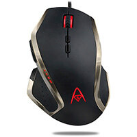 Adesso Multi-Color 9-Button Programmable Gaming Mouse, Right-hand, Optical, USB Type-A, 6400 DPI, Black, Bronze