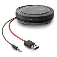 Plantronics Calisto 5200 - Universal Speakerphone - Wired, Audio Jack 3.5 mm, USB Type-A - Noise Reduction, Omni-Directional Microphone, Colour: Black, Red
