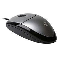 V7 Optical LED USB Mouse, Optical, USB Type-A, 1000 DPI, Black, Silver