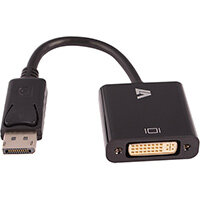 V7 Black Video Adapter DisplayPort Male to DVI-I Female, 0.2 m, 1 x 20-pin Type DisplayPort - Male, 1 x (24+5)-pin DVI - Female, Male, Female, 1920 x 1200 pixels