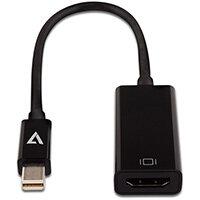 V7 Black Video Adapter Mini DisplayPort Male to HDMI Female Slim, Mini DisplayPort, HDMI Type A (Standard), Male, Female, Black, China