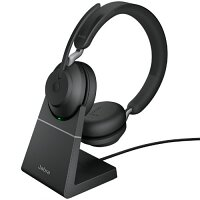 Jabra Evolve2 65 UC Wireless Over-the-head Stereo Headset - Supra-aural, Noise Cancelling Microphone - Link 380C Stand Included
