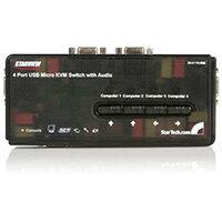 StarTech.com 4 Port Black USB KVM Switch Kit with Cables and Audio, 2048 x 1536 pixels, 2K Ultra HD, Black