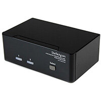 StarTech.com 2 Port Dual DVI USB KVM Switch with Audio & USB 2.0 Hub, 2048 x 1536 pixels, Black