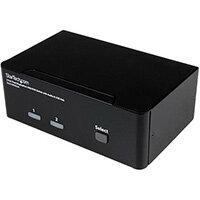 StarTech.com 2 Port Dual DisplayPort USB KVM Switch with Audio & USB 2.0 Hub, 3840 x 2400 pixels, 4K Ultra HD, 18 W, Black