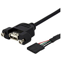 StarTech.com 3 ft Panel Mount USB Cable - USB A to Motherboard Header Cable F/F, 0.9 m, IDC, USB A, Black