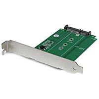 StarTech.com M.2 to SATA SSD adapter – expansion slot mounted, SATA, M.2, Full-height / Low-profile, Green, Stainless steel, CE, FCC, 6 Gbit/s