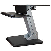"""StarTech.com Sit-to-Stand Workstation, Multimedia stand, Black, Silver, Steel, Wood, Flat panel, 13 kg, 76.2 cm (30"""")"""