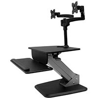 """StarTech.com Dual Monitor Sit-to-stand Workstation, Multimedia stand, Black, Plastic, Steel, Flat panel, 8.7 kg, 61 cm (24"""")"""