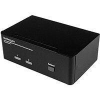 StarTech.com 2-Port DisplayPort Dual-Monitor KVM Switch - 4K 60Hz, 3840 x 2160 pixels, 4K Ultra HD, Black