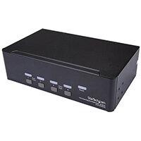 StarTech.com 4-Port Dual DisplayPort KVM Switch - 4K 60Hz, 3840 x 2160 pixels, 4K Ultra HD, Rack mounting, 18 W, 2U, Black