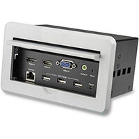 StarTech.com Conference Table Connectivity Box for A/V - 4K, 3840 x 2160 pixels, 1280 x 720 (HD 720),1920 x 1080 (HD 1080),1920 x 1200 (WUXGA),2560 x 1600 (WQXGA),3840 x 2160, 16:9, Silver, 15.2 m, CE, FCC, TAA, REACH