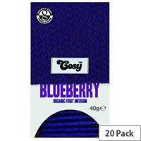 Cosy Blueberry Organic Tea 20 Individually Foil Wrapped Tea Bags - 20 Bags Per Pack