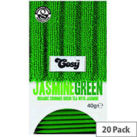 Cosy Jasmine Green Organic Tea 20 Individually Foil Wrapped Tea Bags - 20 Bags Per Pack