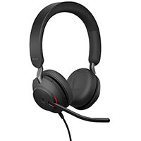 Jabra Evolve2 40 Wired Over-the-Head Stereo Headset - Supra-aural - Computer Headset - Noise Cancellation, Sensitive Boom Microphone - USB Type C - Colour: Black