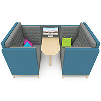 Frovi JIG CAVE 4 Seater Meeting Pod With Media With Natural Oak Feet H1470xW2320xD1500mm 430mm Seat Height - Fabric Band B
