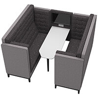 Frovi JIG CAVE 6 Seater Meeting Pod With Media With Black Oak Feet H1470xW2320xD2000mm 430mm Seat Height - Fabric Band B