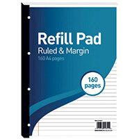 Hamelin 8mm Ruled/Margin Refill Pad A4 80 Sheet Pack of 5 400127657