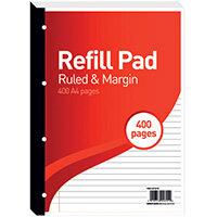Hamelin 8mm Ruled/Margin Refill Pad A4 400 Sheet Pack of 5 400127670