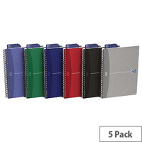 Oxford Office Wirebound Notebook Soft Cover A5 Assorted Pack of 5