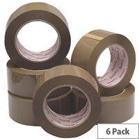 Polypropylene Packaging Tape 50mm x 132m Brown (6 Pack)