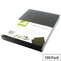 Q-Connect Binding Comb Covers Leathergrain Pack of 100 Black A4