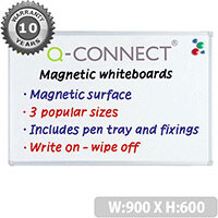 Q-Connect Aluminium Magnetic Whiteboard 900x600mm