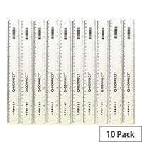 Q-Connect Ruler 300mm Clear Pack of 10 KF01107Q