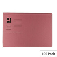 Q-Connect Pink Square Cut Folder Medium Weight 250gsm Foolscap Pack of 100 KF01187