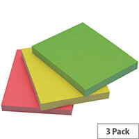 Q-Connect Quick Note Repositionable Pad 40x50mm Assorted Neon Pack of 3 Pads