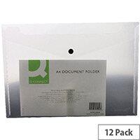 A4 Envelope Wallet Plastic Transparent Clear Pack 12 Q-Connect