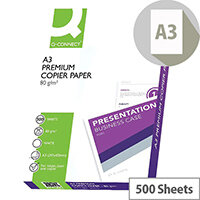 Q-Connect A3 80gsm White Premier Copier Paper Ream of 500 Sheets