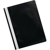 Q-Connect Project Folder A4 Black Pack 25 Standard 2 Bar Prong Mechanism, Clear Sturdy PVC Front, Full Length Titling Strip, Easy Storage