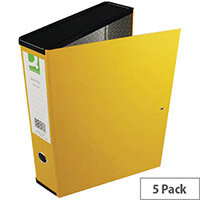 Box File Foolscap 75mm Spine Yellow 5 Pack Q-Connect