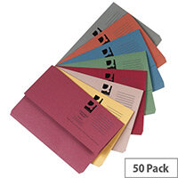 Document Wallets Half Flap Foolscap Assorted Colours Pack 50 Q-Connect